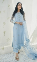 Spring blue shirt with 3d embroidered neckline and sleeves with hand embellishments.