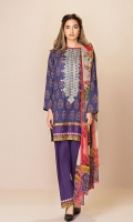 Shirt: 2.75 Mtr Lawn Digital Print Embroidered Dupatta: 2.5 Mtr Crinkle Digital Print Trouser: 2.5 Mtr Dyed Cotton