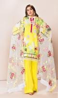 Shirt: 2.75 Mtr Lawn Digital Print Dupatta: 2.5 Mtr P-Net Embroidered Trouser: 2.5 Mtr Dyed Cotton