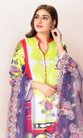 Front: 1.25 Mtr Lawn Digital Print Back: 1.25 Mtr Lawn Digital Print Sleeves: 0.65 Mtr Lawn Digital Print Dupatta: 2.5 Mtr P-Net Embroidered Trouser: 2.5 Mtr Dyed Cotton + Embroidery Patch