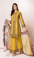 Shirt:2.75 Mtr Lawn Digital Print Embroidered Dupatta:2.5 Mtr Supreme Lawn Digital Print Trouser:2.5 Mtr Dyed Cotton