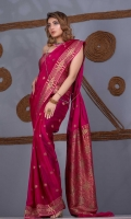 Saree Chiffon Self Mughal Zari and Resham Boti and Border