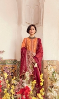 Embroidered Front Center Panel  Embroidered Front Side Panels  Embroidered Border (Front)  laser Cut jamawar Embroidered Border (Front and Sleeves )  Embroidered Back  Embroidered Sleeves  Embroidered Patch (Sleeves )  Dupatta  Embroidered Border ( Dupatta Pallu )on Charmeuse Silk  Embroidered patch ( Dupatta Pallu)  Embroidered lace ( Dupatta )  Pearl Printed Net weaved Dupatta  Trouser  Plain Trouser