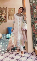 Dori & schiffli Embroidered Front  Chatta Patti Border (Front)  Embroidered Motifs for Sleeves  Embroidered Patches on raw silk for sleeves  Block Printed Back & Sleeves  Plain sleeves  Dupatta  Organza Block Printed Dupatta (Tie & Dye)  Trouser  Plain Trouser