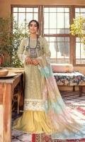 Schiffli Embroidered Front Center Panel  Embroidered Motifs (Front)  Schiffli Embroidered side patches  Sheesha Embroidered Border (Front and Sleeves)  Block Printed side Panels  Block Printed Back & Sleeves  Embroidered Border (Back)  Dupatta  Foam Printed Net Jacquard Dupatta  Trouser  Plain Trouser