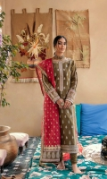 Shirt  Embroidered front & Back  Embroidered Motif (Front & Back) on Raw Silk  Dori Embroidered Neckline  Dori Embroidered Sleeves Patch  Embroidered Lace ( Front & Back )  Embroidered Border ( Front & Back)  embroidered border for sleeves  Dupatta  Block Printed Dupatta  Embroidered border (Dupatta Pallu  Dori Embroidered lace ( Dupatta Pallu )  Dori Embroidered Lace ( Dupatta )  Trouser  Plain Trouser