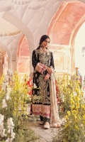 Embroidered Front Side Panels Embroidered Sleeves Embroidered Border (Front, Back, and Sleeves) on raw silk (x2) Block Printed Back  Dupatta Digital Printed Silk Dupatta  Trouser Plain Trouser