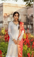 Shirt  Embroidered Front  Embroidered Back & Sleeves  Embroidered Border (Front and Back )  Embroidered Sleeves Patch  Dupatta  Jacquard weaved chunri Dupatta  Trouser  Plain Trouser