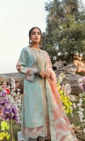 Shirt Embroidered front Dori Embroidered Neckline Dori Embroidered Lace ( Front ) Embroidered Sleeves Block Printed Back Sheesha Embroidered Border ( Front, Back, and Sleeves) Embroidered Motifs (Sleeves) on Raw Silk  Dupatta Chatta Patti Embroidered Palu (Dupatta) Block Printed Zigzag Patti x6 Block Printed side panels foil printed Dupatta Block Printed Patti For Dupatta on raw silk  Trouser Plain Trouser Dori Embroidered Lace ( Trouser )