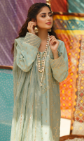 SEQUINS EMBROIDERED FRONT JACQUARD BACK JACQUARD SLEEVES EMBROIDERED BORDER FOR FRONT AND SLEEVES GOTTA EMBROIDERED ROCKET NET DUPATTA DYED TROUSER EMBROIDERED TROUSER LACE