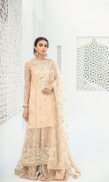 Gota Embroidered Front Center Panel Gota Embroidered Front Side Panels Embroidered Neckline Embroidered Back Center panel Embroidered Back Side panels Embroidered Border for Front and Back Embroidered Sleeves Gotta Embroidered Dupatta Embroidered Shrara Net Raw Silk Dyed Trouser Dyed Slip