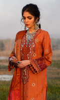 Embroidered Front Sheesha Embroidered Neckline Embroidered Border For Front Embroidered Border For Sleeves Embroidered Sleeves Block Printed Back Schiffli Embroidered Lace For Front Plain Trouser Jacquard Weaved Dupatta