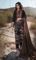 Sequins Embroidered Front Embroidered Neckline Embroidered Front & Sleeves Border Embroidered Sleeves Block Printed Back Plain Trouser Embroidered Trouser Patch Hand Woven Wool Shawl (Double Sided)