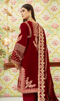 Sheesha  Embroidered Front Sheesha Embroidered Neckline (Front) Sheesha Embroidered Motifs (Front) Plain Velvet For Back & Sleeves Embroidered Lace (Front & Back) Embroidered Shoulder Lace (Front & Back) Sheesha Embroidered Border For Sleeves Embroidered Motifs For Sleeves Sheesha Embroidered Neckline (Back) Sheesha Embroidered Motifs (Back) Embossed Printed Shawl on Velvet Gota Embroidered Lace For Shawl Sequins Embroidered Border for Shawl (Four Sides) Raw Silk Plain Trouser