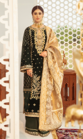 Gota  Embroidered Front Panel Embroidered Side Panels  Sheesha Embroidered Border (Front) Sheesha and Gota Embroidered Neckline Sheesha Embroidered Sleeves  Embroidered Hanging Tassel Motifs (Two) Block Printed Back  Sheesha Embroidered Lace (Trouser) Zari Gold Embossed Printed Dupatta  Raw Silk Plain Trouser