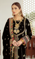 Sequins Embroidered Front & Sleeves Sequins Embroidered Back Dori Embroidered Neckline Gota Embroidered Bodice Embroidered Lace (Trouser) Dori Embroidered Lace (Front) Dori & Sheesha Embroidered Border (Front & Sleeves) Embroidered Border (Back ) Sheesha Embroidered Shawl on Velvet Sheesha Embroidered Border For Shawl Palu Raw Silk Plain Trouser