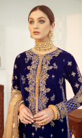 Sequins Embroidered Front & Back Sequins Embroidered Sleeves Embroidered Motifs (Sleeves) Embroidered Neckline Embroidered Lace (Front) Embroidered Motifs (Front ) Dori Embroidered Border (Front, & Sleeves) Embroidered Border (Back) Zari Jacquard Woven Dupatta Raw Silk Plain Trouser