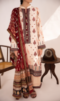 Embroidered Front Embroidered Front Border Digital Printed Back Block Printed Sleeves Embroidered Neckline Embroidered Lace for Sleeves and Trouser Block Printed Chiffon Dupatta Plain Trouser