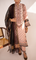 Digital Printed Shirt Embroidered Neckline Embroidered Border for Front and Sleeves Plain Trouser Handwoven Jacquard Dupatta Embroidered Lace for Trouser