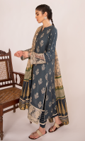 Schiffli Embroidered Front Block Printed Back Block Printed Sleeves Embroidered Border For Front And Sleeves Block Printed Dupatta Plain Trouser