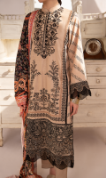 Embroidered Front Embroidered Front Border Embroidered Sleeves Border Block Printed Back Block Printed Sleeves Block Printed Front Side Panels Digital Printed Shawl Plain Trouser