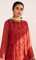 Schiffli Embroidered Front Embroidered Border for Front Digital Printed Back Digital Printed Sleeves Embroidered Lace for Sleeves and Trouser Digital Printed Chiffon Dupatta Plain Trouser