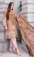Three pcs Karandi Embroidery with scalloped Chiffon Dupatta