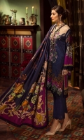 """Shirt Front Digital Printed Embroidered Linen 1.30 Yards Digital Printed Shirt Back and Sleeves 1.95 Yards Digital Printed Cotelle Linen Dupatta / Shawl 2.75 Yards Dyed Linen Trouser 2.65 Yards Shirt Front Border on Tissue – 30"""" 01 Piece"""