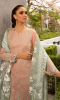 Shirt Front Full Embroidered Dyed Dobby Lawn 1.30 Yards Shirt Back Full Embroidered Dyed Dobby Lawn 1.30 Yards Shirt Sleeves Full Embroidered Dyed Dobby Lawn 0.72 Yard Organza Flock Printed Dupatta 2.75 Yards Dyed Cambric Trouser 2.65 Yards