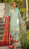 """Shirt Front Full Embroidered Dyed Dobby Lawn 1.30 Yards Shirt Back and Sleeves Full Embroidered Dyed Dobby Lawn 2.00 Yards Digital Printed Chiku Silk Dupatta 2.75 Yards Dyed Cambric Trouser 2.65 Yards Shirt Front Schiffli Border on Lawn – 30"""" 01 Piece Shirt Front Embroidered Border on Tissue – 30"""" 01 Piece"""