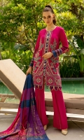 Shirt Front Full Embroidered Digital Printed Lawn 1.30 Yards Shirt Back and Sleeves Digital Printed Lawn 2.00 Yards Yarn Dyed Khaddi Foil Printed Dupatta 2.75 Yards Dyed Cambric Trouser 2.65 Yards