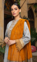 Embroidered shirt front on lawn cotail 1.25 yard Embroidered shirt back on lawn cotail 1.25 yard Embroidered shirt sleeve on lawn cotail 0.70 yard Embroidered shirt front lace on organza 30 inch Embroidered shirt back lace on organza 30 inch Embroidered sleeve lace on organza 40 inch Yarn dyed khaddi woven dupatta with lurex 2.75 yard Dyed cotton trouser 2.70 yard