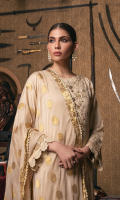 Embroidered shirt front on lawn cotail 1.25 yard Dyed back and sleeve on lawn cotail 2 yard Embroidered sleeve lace on organza 40 inch Embroidered shirt back border on organza 30 inch Zari chiffon Dyed Dupatta 2.75 yard Dyed cotton trouser 2.70 yard