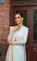 Embroidered shirt front on lawn cotail 1.25 yard Dyed back and sleeve on lawn cotail 2 yard Embroidered sleeve motif on organza 1 pair Embroidered shirt front lace on organza 30 inch Embroidered back motif on organza 1pcs Embroidered sleeve lace on organza 40 inch Embroidered chiffon dupatta 2.50 yard Embroidered chiffon dupatta pallu 84 inch Dyed cotton trouser 2.70 yard