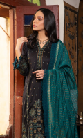 Embroidered shirt front on lawn cotail 1.25 yard Dyed back and sleeve on lawn cotail 2 yard Embroidered sleeve motif on organza 1 pair Embroidered neck lace on organza 40 inch Embroidered sleeve lace on organza 40 inch Yarn dyed khaddi woven dupatta with lurex 2.75 yard Dyed cotton trouser 2.70 yard