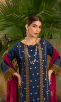Embroidered shirt front on lawn cotail 1.25 yard Dyed back and sleeve on lawn cotail 2 yard Embroidered sleeve lace on organza 40 inch Embroidered shirt front and back lace on organza 60 inch Yarn dyed khaddi woven dupatta with lurex 2.75 yard Dyed cotton trouser 2.70 yard
