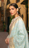 Embroidered shirt front on lawn cotail 1.25 yard Dyed back and sleeve on lawn cotail 2 yard Embroidered shirt back motif on organza 1 pcs Embroidered sleeve motif on organza 1 pair Embroidered shirt front lace on organza 30 inch Embroidered shirt back lace on organza 30 inch Embroidered sleeve lace on organza 40 inch Zari dyed dupatta 2.75 yard Dyed cotton trouser 2.70 yard