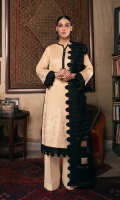 Embroidered shirt front on lawn cotail 1.25 yard Embroidered shirt back on lawn cotail 1.25 yard Embroidered shirt sleeve on lawn cotail 0.70 yard Embroidered sleeve lace on organza 40 inch Embroidered shirt back border on organza 30 inch Yarn dyed khaddi woven dupatta with lurex 2.75 yard Dyed cotton trouser 2.70 yard