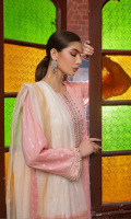 Embroided shirt front on lawn cotail 1.25 yard Embroided shirt back on lawn cotail 1.25 yard Embroided shirt sleeve on lawn cotail 0.70 yard Embroided sleeve lace on lawn cotail added with back 40 inch Yarn dyed khaddi woven dupatta with lurex 2.75 yard Dyed cotton trouser 2.70 yard