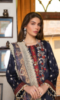 Embroidered shirt front on lawn cotail 1.25 yard Embroidered shirt back on lawn cotail 1.25 yard Embroidered shirt sleeve on lawn cotail 0.70 yard Embroidered shirt front border on organza 30 inch Embroidered shirt back border on organza 30 inch Digital printed silk dupatta 2.75 yard Dyed cotton trouser 2.70 yard