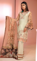 03 pcs unstitched embroidered Lawn with printed Swiss Voile Lawn Dupatta