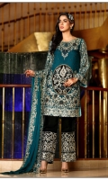 Golden Tila Embroidered Shirt with Velvet Touch Golden Tila Embroidered Dupatta EMbroidered Trouser