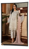 Embroidered Chiffon Front Shirt Embroidered Chiffon Back Blush Pink Duputta Dyed Trouser