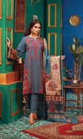 Embroidered Khaddar Front  Dyed Khaddar back and sleeves  Printed Border for back and sleeves  100% Pure Wool Shawl  Dyed Khaddar Trouser