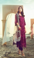 Embroidered & Sequined Front on Net Embroidered & Sequined Back on Net Embroidered & Sequined Sleeves on Net Pearl Embellished Dopatta On Net Embroidered & Sequined Borders for Dopatta Embroidered & Sequined Border for Back 3D Embroidered & Embellished Motif Jacquard Dyed Trouser Dyed Cotton Silk Lining