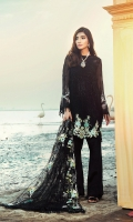 Embroidered & Sequined Front on Chiffon Embroidered & Sequined Back on Chiffon (including Front Side Extensions) Embroidered & Sequined Sleeves on Chiffon Embroidered Net Dopatta Embroidered Border For Back Dyed Raw Silk Trouser Dyed Cotton Silk Lining