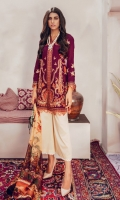 Embroidered Jacquard Shirt Front Embroidered Jacquard Sleeves Digital Printed Back Digital Printed Silk Dupatta Dyed Cambric Trouser