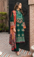 ChickenKari & Sheesha Embroidered Shirt Front  Block Printed Sleeves  Dyed Jacquard Back Digital Printed Silk Dupatta Dyed Cambric Trouser