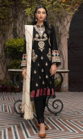 Sheesha Embroidered Self Jacquard Shirt Front Embroidered Self Jacquard Sleeves Block Print Back Sheesha Embroidered Khaadi Net Dupatta Dyed Cambric Trouser