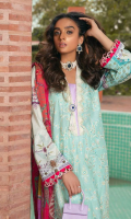 ChickenKari Embroidered Shirt Front  Digital Printed Sleeves & Back  Embroidered Hem Border Digital Printed Chiffon Dupatta Dyed  Jacquard Trouser